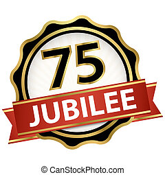 round jubilee button with red banner for marketing use for 75 years