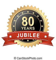 Jubilee Button with Banner - 80 YEARS