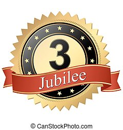 Jubilee button with banners - 3 years
