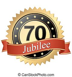 Jubilee button with banners - 70 years - Jubilee button with...