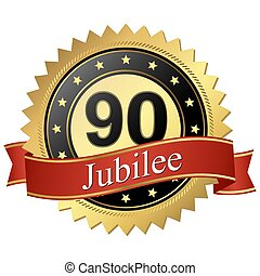 Jubilee button with banners - 90 years
