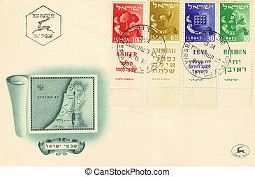 Jubilee envelope mail of israel 1955.depicts an ancient map of Israel divided into 12 tribes of Israel