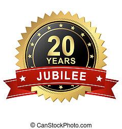 jubileu, 20, botão, -, anos, bandeira