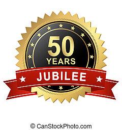 jubileu, botão, -, 50, anos, bandeira