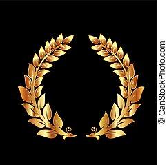 jubileu, dourado, aniversário, laurel