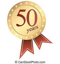 jubileu, ouro, botão, -, 50, anos
