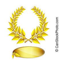 jubileu, ouro, texto, grinalda, etiqueta, laurel