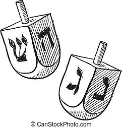 judío, bosquejo, dreidel