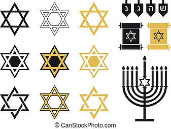 judío, conjunto, religioso, estrellas, icono