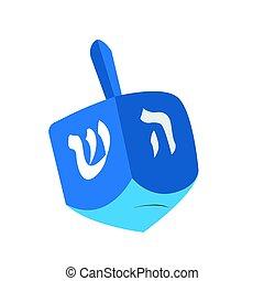 judío, dreidel, aislado