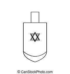judío, dreidel, tradicional