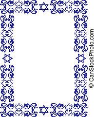 judío, frontera, floral