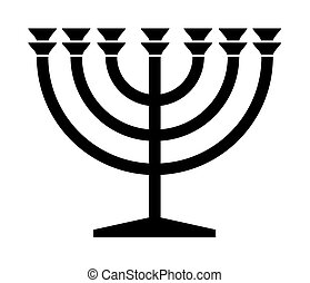 judío, menorah, candelero
