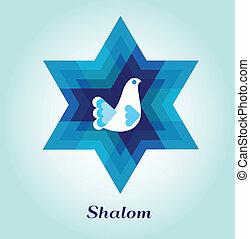judío, paz, símbolos, plantilla, paloma, tarjeta