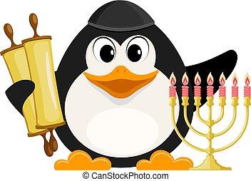 judío, pingüino, tradicional, vector, torah, hanukkah, ...