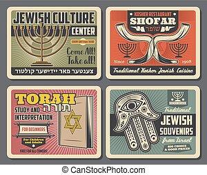 judío, símbolos, de, judaísmo, religión, y, cultura