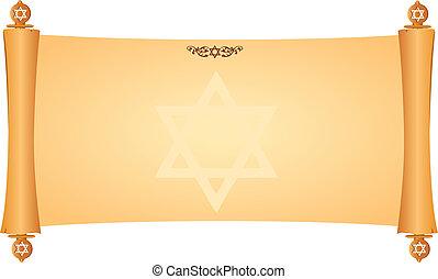 judío, símbolos, pergamino