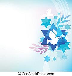 judío, símbolos, plantilla, tarjeta