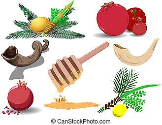 judío, símbolos, vacaciones, paquete