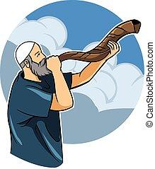 judío, shofar, soplar