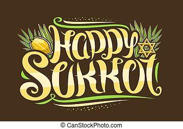 judío, vector, tarjeta, saludo, sukkot