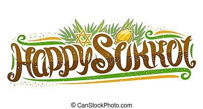 judío, vector, texto, sukkot