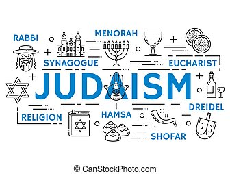 judaísmo, religión, símbolos, línea fina, iconos