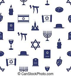 judaísmo, religión, símbolos, seamless, azul, patrón, eps10