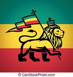 judah, löwe, mit, a, rastafari, flag., koenig, von, zion,...
