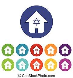 Judaic house icon set