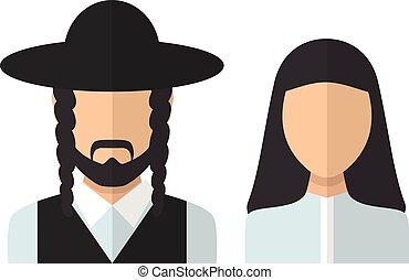 Judaic man and woman. Vector flat design