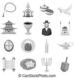 Judaism church traditional symbols icons set