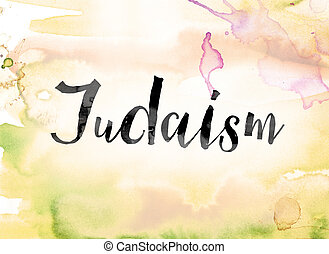 Judaism Colorful Watercolor and Ink Word Art