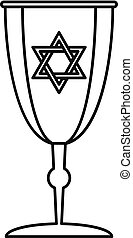 Judaism cup icon, outline style - Judaism cup icon. Outline...