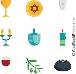 Judaism icon set, flat style - Judaism icon set. Flat set of...