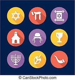 Judaism Icons Flat Design Circle - This image is a...