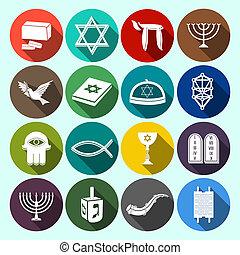 Judaism Icons Set Flat - Jewish church traditional religious...