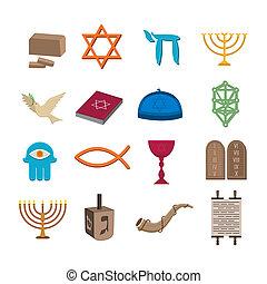 Judaism icons set - Judaism church traditional symbols icons...