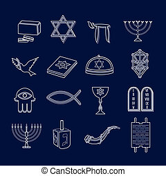 Judaism icons set outline - Jewish church traditional...