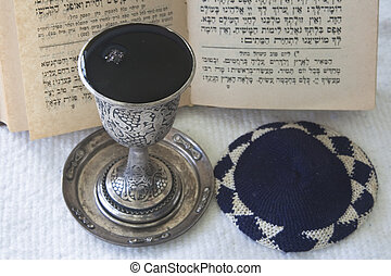 Judaism - Kiddush, prayer book, skullcap