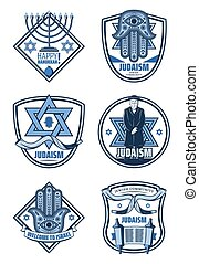 Judaism religion and Hanukkah holiday icons - Israel...
