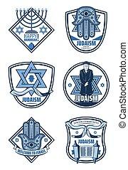 Judaism religion and Hanukkah holiday icons - Israel...