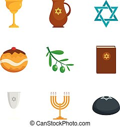 Judaism religion icon set, flat style - Judaism religion...