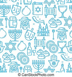 Judaism religion seamless pattern, Jewish symbols