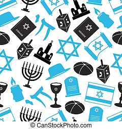 judaism religion symbols vector set of icons seamless pattern eps10