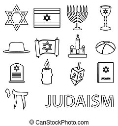 judaism religion symbols vector set of outline icons eps10