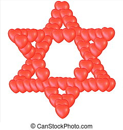 Judaism religious symbol - star of david comprised by small...