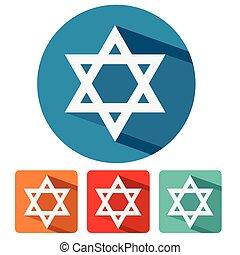 judaism star of david flat design icon