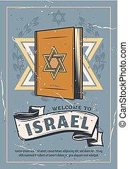 Judaism symbol Davids star on Torah