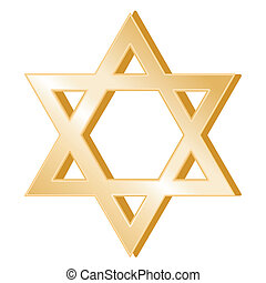 Golden Star of David, symbol of the Jewish faith on a white background.